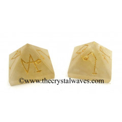 Citrine Quartz Arch Angel Engraved Small Pyramid