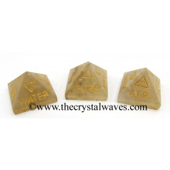 Citrine Quartz 5 Element Engraved Small Pyramid