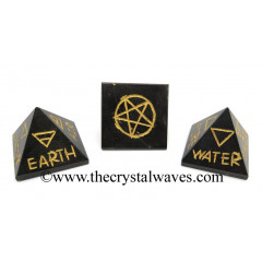 Black Agate 5 Element Engraved Small Pyramid