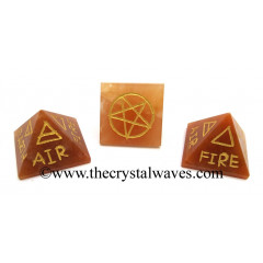 Red Aventurine 5 Element Engraved Small Pyramid