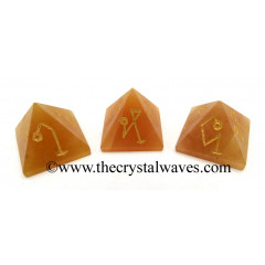 Red Aventurine Arch Angel Engraved Small Pyramid