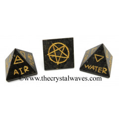 Black Tourmaline 5 Element Engraved Small Pyramid
