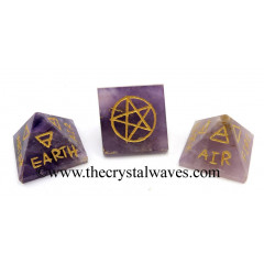 Amethyst 5 Element Engraved Small Pyramid