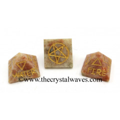 Sunstone 5 Element Engraved Small Pyramid