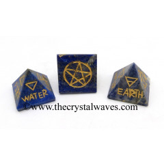 Lapis Lazuli 5 Element Engraved Small Pyramid
