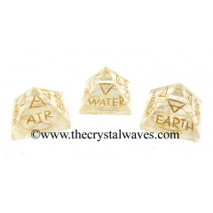 Crystal Quartz 5 Element Engraved Small Pyramid