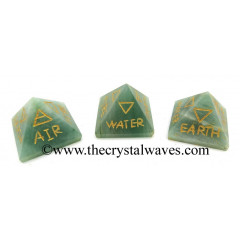 Green Aventurine (Light) 5 Element Engraved Small Pyramid
