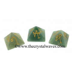 Green Aventurine (Light) Arch Angel Engraved Small Pyramid