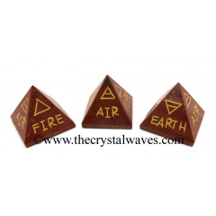 Red Jasper 5 Element Engraved Small Pyramid