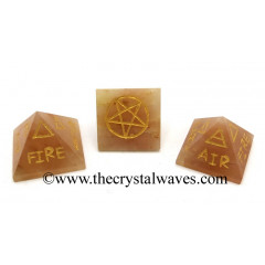 Peach Moonstone 5 Element Engraved Pyramid