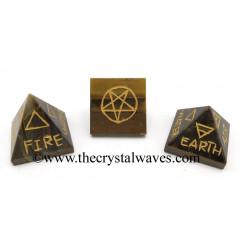 Tiger Eye Agate 5 Element Engraved Pyramid
