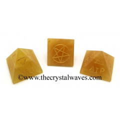 Yellow Aventurine 5 Element Engraved Pyramid