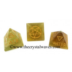 Fluorite 5 Element Engraved  Pyramid