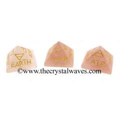 Rose Quartz 5 Element Engraved Pyramid