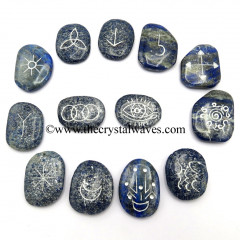 Lapis Lazuli Palmstone Witches Rune Set With Silver Writing