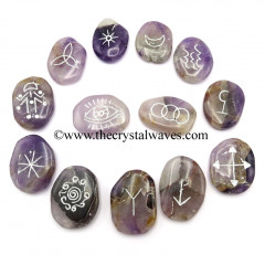 Amethyst Palmstone Witches Rune Set With Silver Writing