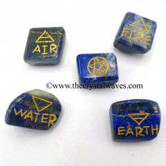 Lapis Lazuli Tumbled 5 Element Engraved Set