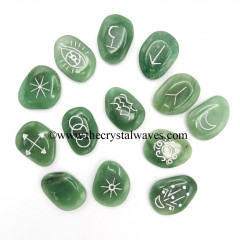Green Aventurine (Light) Palmstone Witches Rune Set With Silver Writing