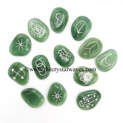 Green Aventurine (Light) Palmstone Witches Rune Set With Silver Writing