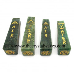 Green Aventurine (Dark) 5 Element Engraved Tower