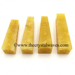Yellow Aventurine 5 Element Engraved Tower