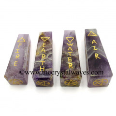 Amethyst 5 Element Engraved Tower