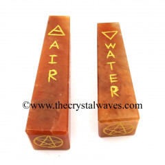 Red Aventurine 5 Element Engraved Tower