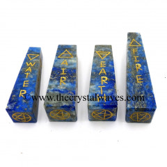 Lapis Lazuli 2 - 3 Inch 5 Element Engraved Tower