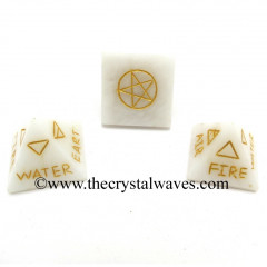 Snow Quartz 5 Element Engraved Small Pyramid
