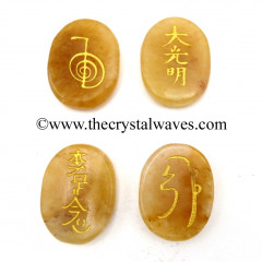 Yellow Aventurine Oval Fine Engraved Usui Reiki Set
